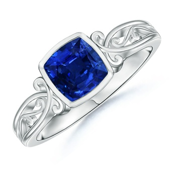 Angara Ceres Carved Shank Blue Sapphire Vintage Ring afumYNX