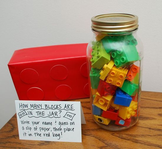 Another cute idea for a game at a Lego party :: tissue box/lego style for guesses