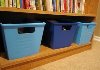 use Krylon plastic paint to spray paint plastic Dollar Store bins to get the color you need for any room