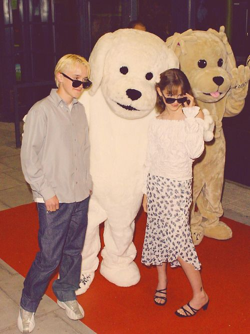 died of cuteness overload. Tom Felton and Emma Watson when they were little :)