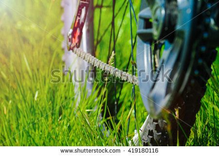 Detail of bicycle with green grass background