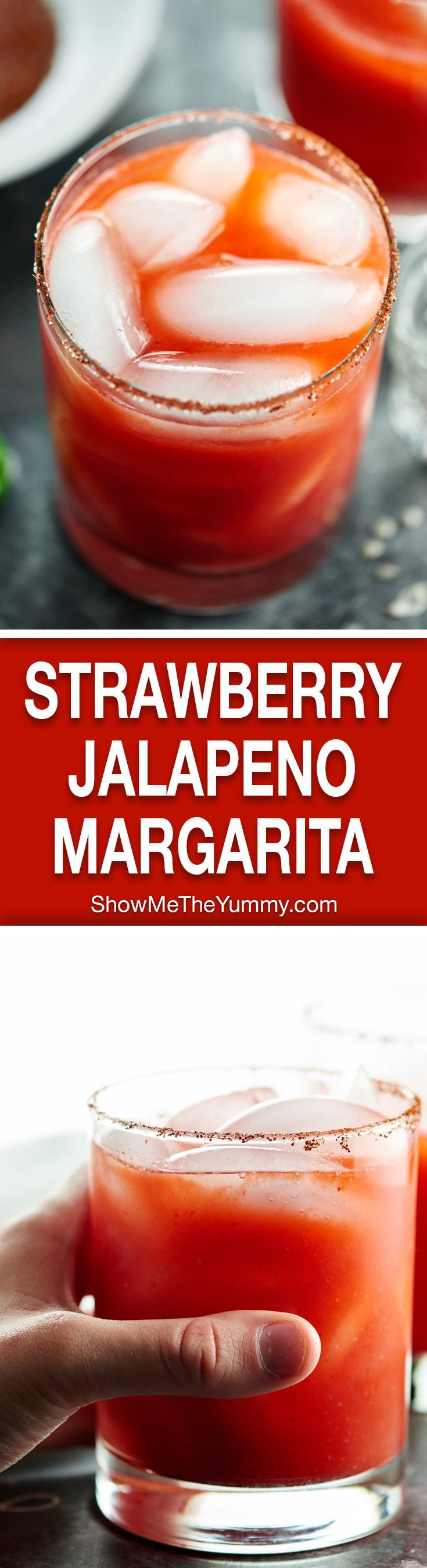 This Strawberry Jalapeno Margarita Recipe is sweet from strawberries, spicy from jalapeno, tart from lime juice, & a little smoky from the chili salt rim! http://showmetheyummy.com #strawberrymargarita #tequila