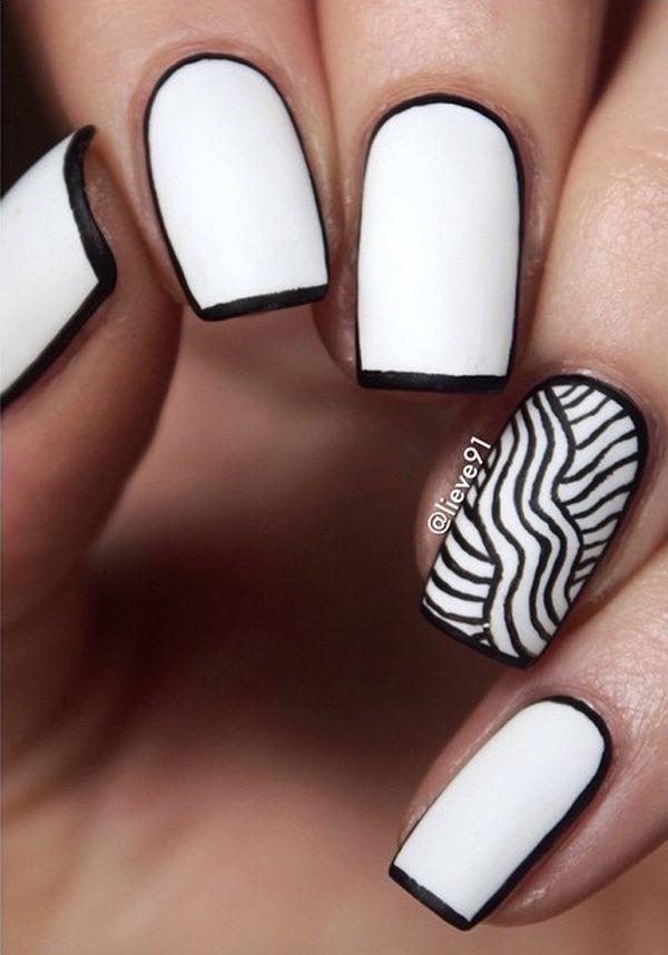 black and white nail art-41 - 55 Black and White Nail Art Designs   <3