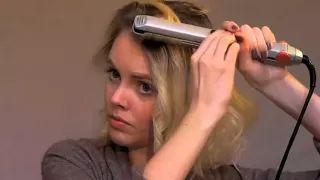 comment boucler ses cheveux avec un fer a lisser cheveux courts - YouTube