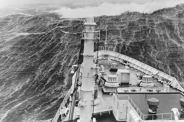 "These rogue waves, which appeared without warning, were described as nearly vertical walls of water, up to 100 feet high. These twelve story waves were often preceded by a trough so deep that sailors called it a ""hole in the sea."" The ship Raffaello hit this 20 meter rogue wave which did major damage."