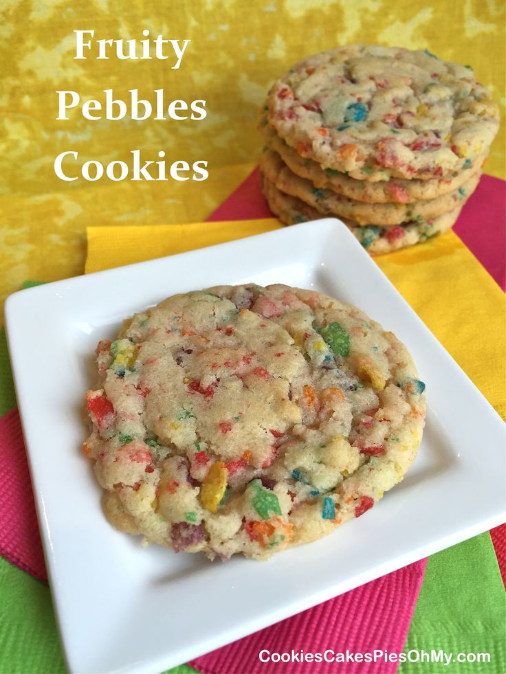 Just for fun! 1 cup butter, softened 1¼ cups sugar 1 egg 2 tsp vanilla 2¼ cups flour 1 tsp baking soda 1/2 tsp salt 2 cups Fruity Pebbles cereal Preheat oven to 375°.  In large bowl using electric ...