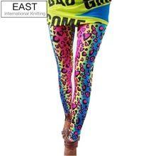 Lavoro a maglia orientali a55 trasporto libero pantaloni signora sesso neon leopardo delle 2015 donne di modo barrato le ghette alte spandex 1 pz(China (Mainland))