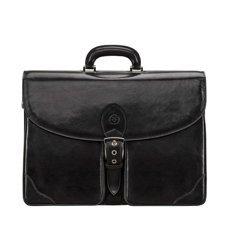 Maxwell Scott Luxury Black Leather Briefcase (The Tomacelli 3 section)
