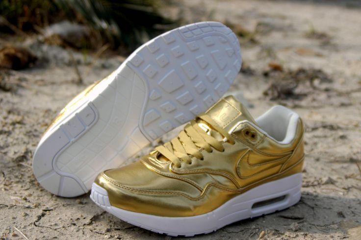 nike air max 1 silver gold