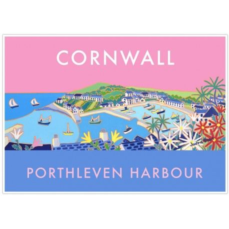Vintage Style Seaside Poster by Joanne Short of Porthleven Harbour in Cornwall