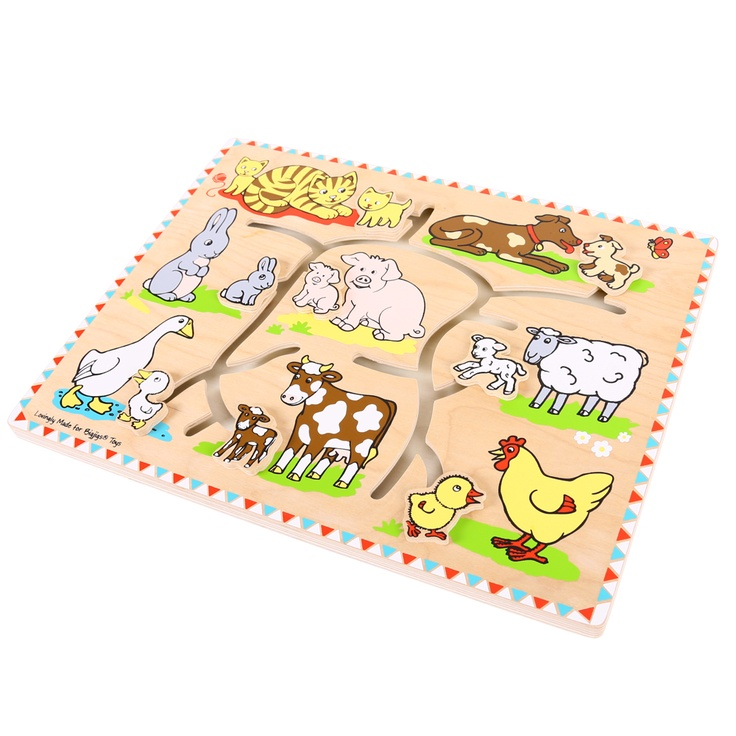 Help the babies find their mums! Each of these farm animals has a youngster who needs help to find their way home. Move the pieces along the maze until each one is safely back in the fold. A fascinating way to learn matching skills while developing dexterity and concentration. Ages 1 year and up.  http://shop.bigjigstoys.co.uk/products/productdetail/part_number=BB058/12465.0.4.3