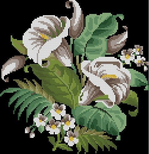 Lilies antique cross stitch and beadwork pattern by Smilylana