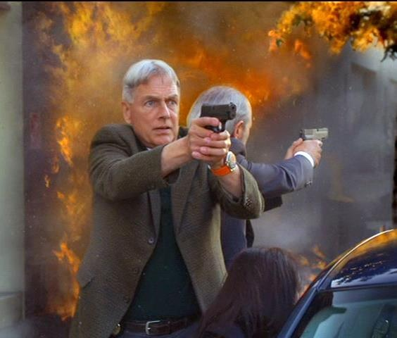 "Mark Harmon as Leroy Jethro Gibbs in the NCIS episode ""Moonlighting"" with Joe Spano."