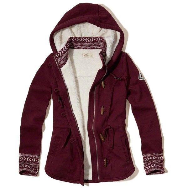 Hollister Patterned Sherpa Lined Hoodie ($80) ❤ liked on Polyvore featuring tops, hoodies, burgundy, burgundy hoodie, hooded zip sweatshirt, purple hoodie, sweatshirt hoodies and zipper hoodies