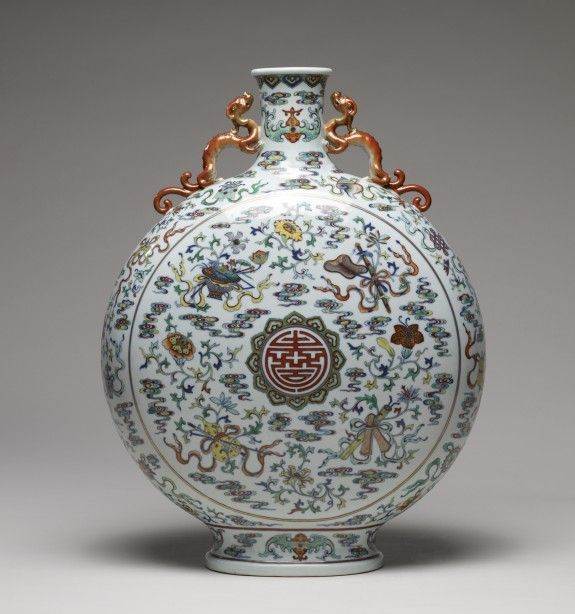 Eighteenth-century Chinese pilgrim bottle with the shou (long-life) symbol, some of the Eight Immortals' symbols and other auspicious symbols. (Walters Museum)