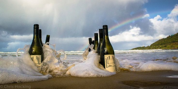 Lisdillon #wine on the beach at #WyeRiver on the #GreatOceanRoad with Rainbow in the background