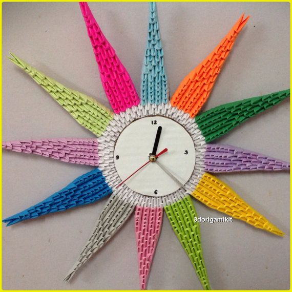 Clock 14 3D Origam Colourful