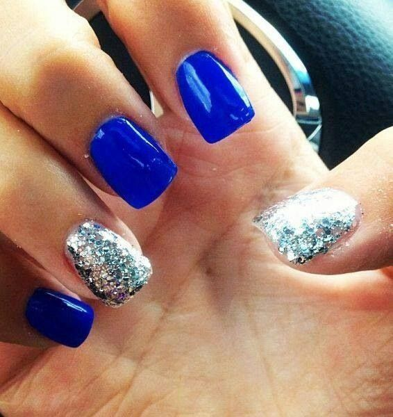 Blue with silver sparkle accents.