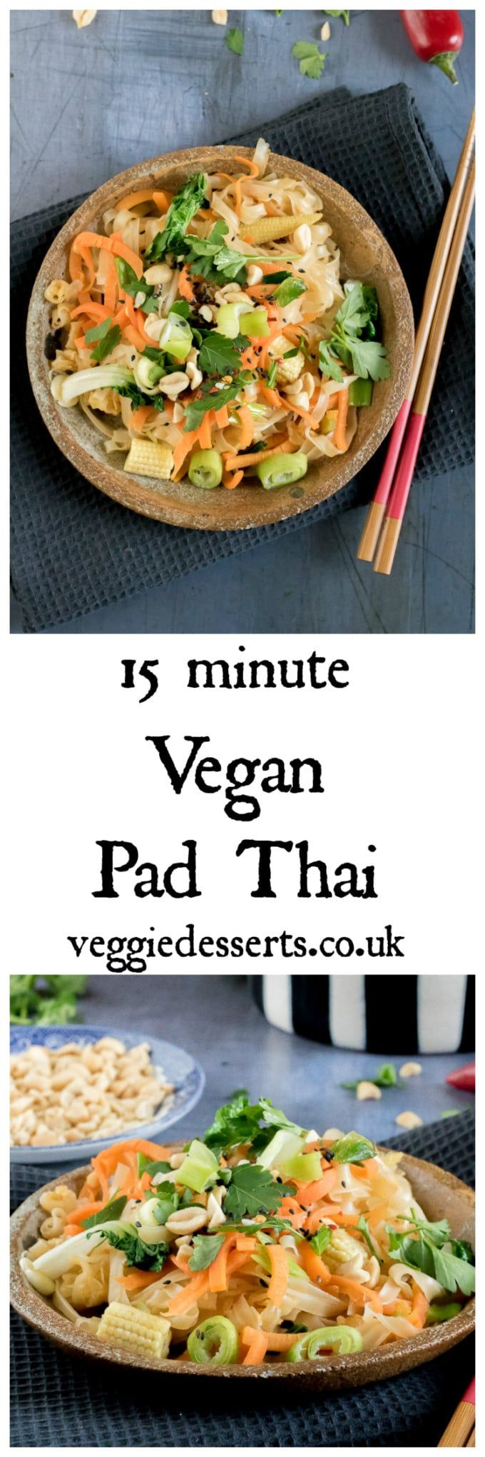 Ready in just 15 minutes, this easy vegan pad Thai is bursting with flavour. It's also gluten free. Veggies, wide rice noodles, ginger, garlic, chilli and lime juice all combine into a fragrant and tasty dish. #padthai #vegan #veganrecipes #15minutemeals #midweekmeals #recipe  via @katehax
