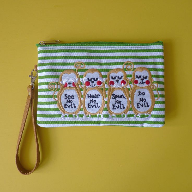 Excited to share the latest addition to my #etsy shop: Wise Monkeys Cosmetic Pouch / Clutch http://etsy.me/2jLjU5z #bagsandpurses #green #brown #kitsch #quirky #cosmeticbag #makeup #eco #clutch #monkeys #wisemonkeys