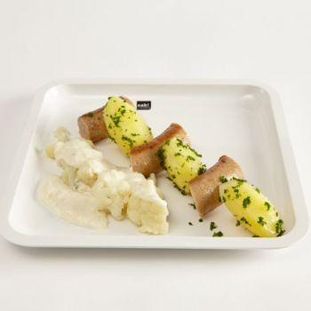 Peterselie aardappelen met bloemkool en worst - Pomuni