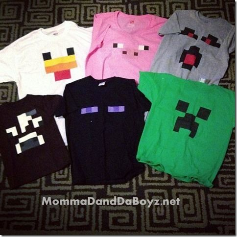 Minecraft DIY Stencil Shirts -OMG how fun would this be for a Webelos project!