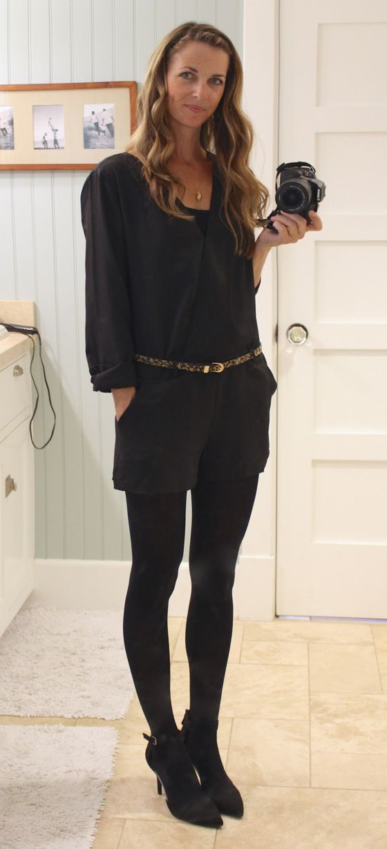 date night romper with black opaque tights and heels