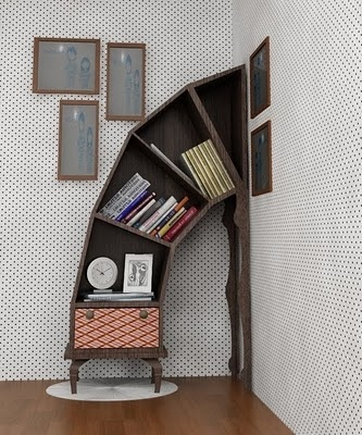 Crazy furniture: Bookshelves, Front Rooms, Alice In Wonderland, Book Shelves, Display Shelves, Tim Burton, Bookca, Kids Rooms, Timburton