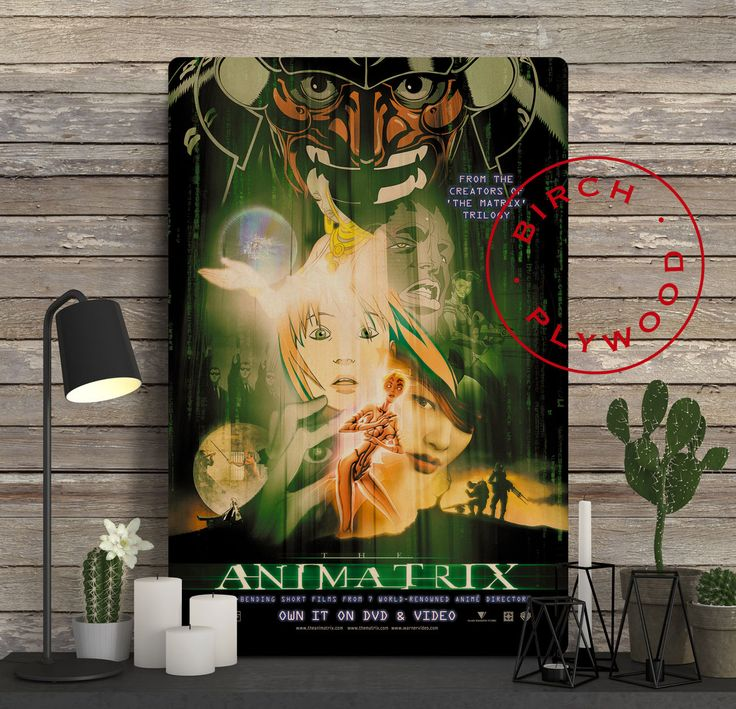 THE ANIMATRIX - Poster on Wood, The Wachowskis, The Matrix, Akio Ôtsuka, Pamela Adlon, Movie Posters, Unique Gift, Print on Wood, Wood Gift by InHousePrinting on Etsy