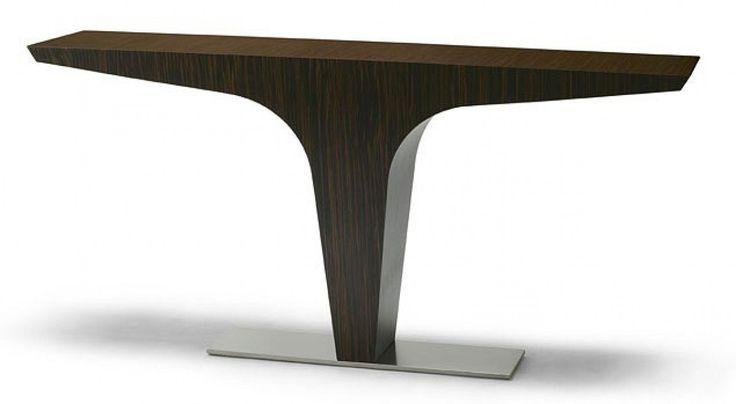 CONSOLE 'VERTIGO' - designer : Daniel RODE pour ROCHE BOBOIS  (Collection). Dimensions : L : 165 - l 40 - H : 82Piétement en acier satiné.Plaquage d'ébène teinte naturel.Très Bon Etat -