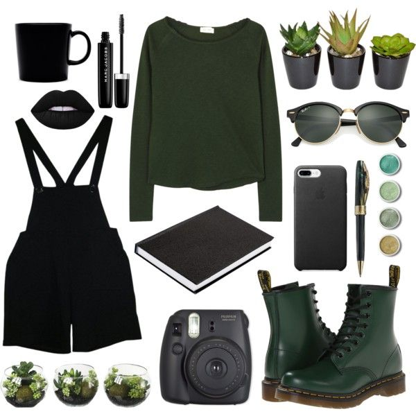 Untitled #38 by pastellilapsi on Polyvore featuring American Vintage, American Apparel, Dr. Martens, Visconti, Ray-Ban, Terre Mère, Lime Crime, Marc Jacobs, The French Bee and iittala