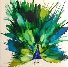 Image result for how to do a peacock feather in alcohol ink