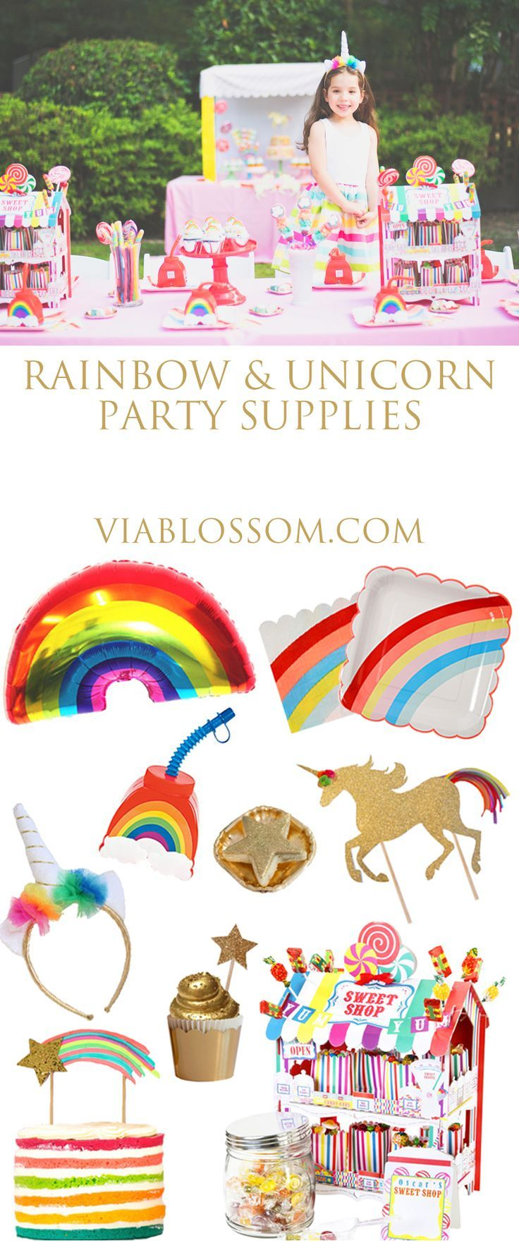Rainbow Unicorn Party Supplies such as rainbow foil balloon, rainbow cups, rainbow plates, napkins, unicorn headband, unicorn cake topper!   All your Unicorn Party decorations in one place!