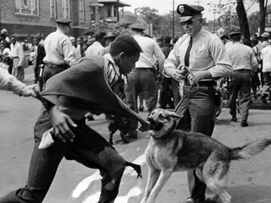POLICE DOG ATTACK    Police K-9 units were deployed to manage crowds of protesters during the Birmingham Campaign of the civil rights movement in May 1963. Such actions brought massive negative publicity to the city in the national media.
