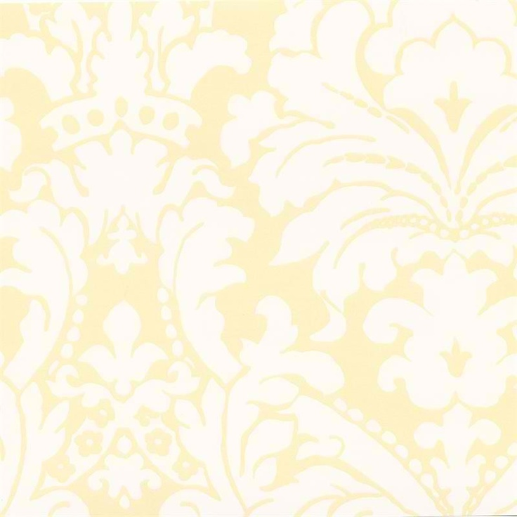 Interior Place Soft Yellow Simple Damask Wallpaper, 28