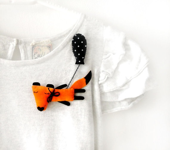 Fox and his Black Balloon Fox brooch Animal pin by krize on Etsy, $27.00