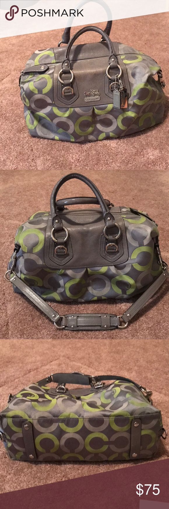 Large Coach tote LARGE COACH MADISON Op Art Sabrina Satchel 13862Designer: (Limited Edition) . Treated to repel water and resist stains.  Silver Coach logo hardware on exterior of gray leather. One interior zip pocket. Lined beautifully in contrasting olive satin material. It's multicolored of: Graphite Silvers, Olives and Grays. This (Limited Edition) item is no longer available in Coach Stores. The MSRP is: $398 . SERIAL NUMBER: D0982-13862 Coach Bags Totes