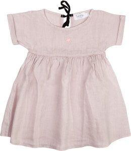 Licht roze jurkje met korte mouw vanTocotó vintage. Kleine ster op de borst. Ronde hals, sluit met striksluiting aan de achterzijde. Niet gevoerd.     Geproduceerd in...