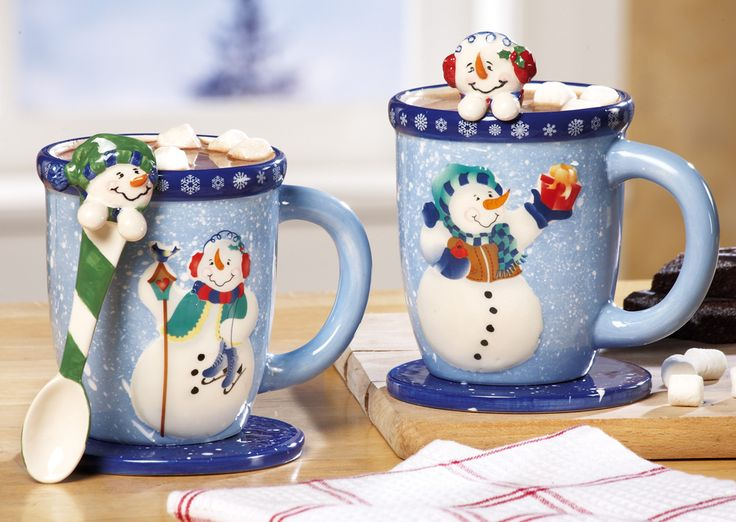 Hot Chocolate-Snowman Mug-Spoon Gift Set You'll swear the cocoa tastes better than ever when it's served in this Snowman Mug Set. The six-piece set includes two 11-oz. mugs, 3 3/4″ coasters and coordinating stirring spoons, just right for dunking marshmallows. Gives everyday beverages like coffee and tea a special holiday cheer. http://kittykatkoutique.com/hot-chocolate-snowman-mug-spoon-gift-set/