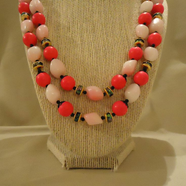 Neon Pink Double Strand Necklace Made in Hong Kong Two Multi Strands Plastic Resin Beads White Bright Pink Magenta Fuchsia Black Accents by elsysvintage on Etsy