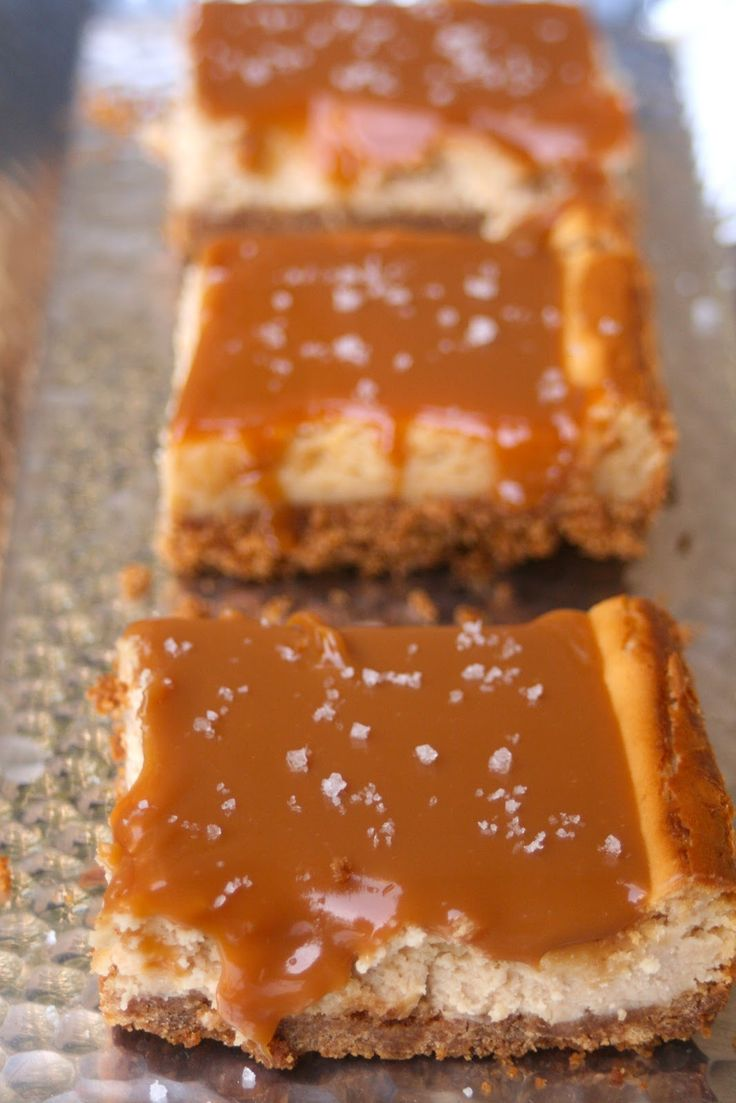 Salted Caramel Cheesecake Bars   Oh my goodness
