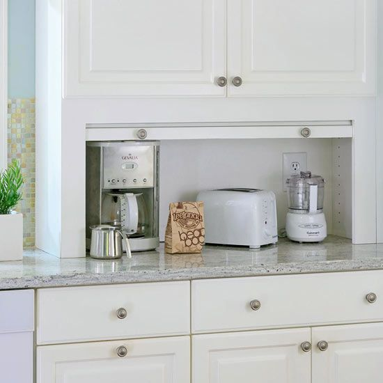 Space-Saver  Appliance garages are great for stowing small countertop appliances. But make sure the doors either slide side-to-side or up and down. Swing-out doors consume the most space and tend to get in the way. - Realsimple.com