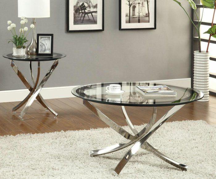 beistelltisch glas metallbasis weißer teppich runde tischplatte