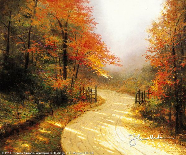 """Autumn Lane"" by Thomas Kinkade 1/25/14:"