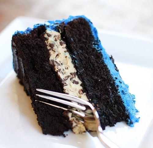 Cookie Monster Birthday Cake with Cookie Dough Filling!  Can it get any better than this?: Chocolate Cake, Chocolates, Dough Filling, Cakes, Mocha Cake, Cookie Dough, Dark Chocolate, Chocolate Mocha