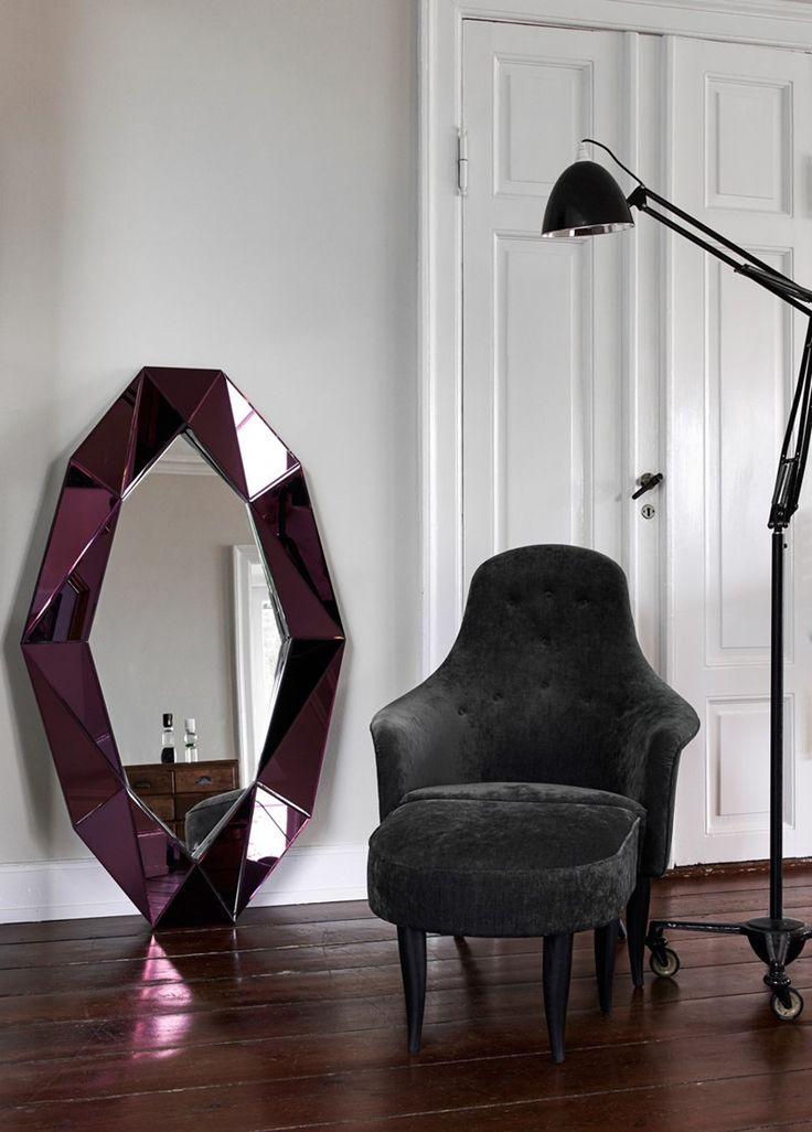 Burgundy x-large mirror diamond shape