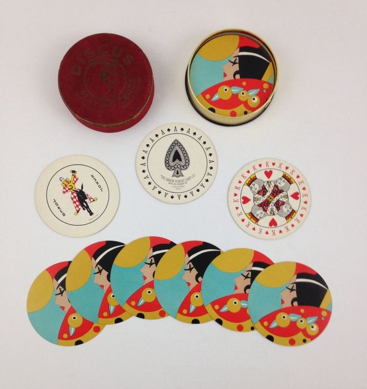 Vintage Discus Art Deco Round Playing Cards With Box Arrow Company Woman Lady #Arrow