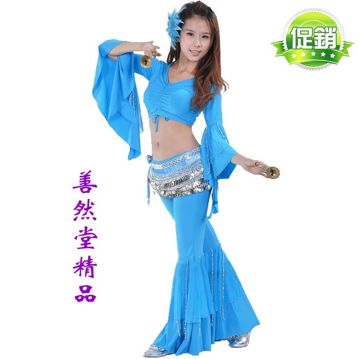 ==> [Free Shipping] Buy Best Extra Large Plus Size belly dance set silver beads flare sleeve top trousers two piece set (Top  Pants) excluding Chain Belt Online with LOWEST Price | 1380305302