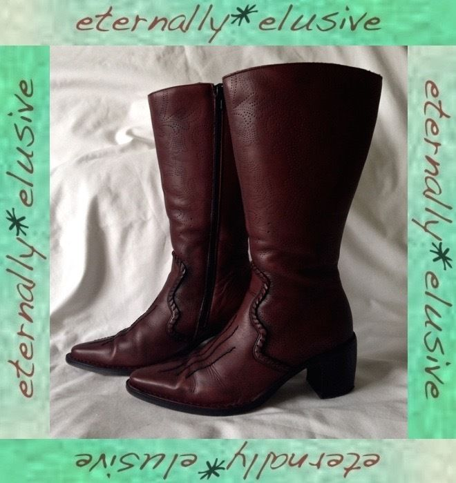 PIKOLINO Long Genuine Leather High Heeled Cowboy Boots Women Ladies Size 38  UK 5
