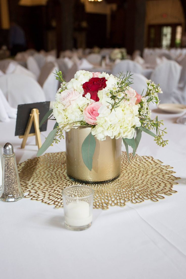 Gold Cylinder Vase Centerpiece White Wax Flower Red